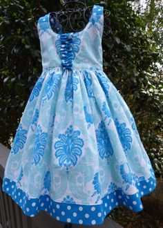 Little girls blue and white sun dress by EmelineDesign on Etsy