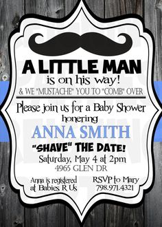 Mustache Baby Shower Invitation  Little Man by ReigningParties, $15.00