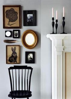 Black Windsor Chair, Fireplace, and a feature wall