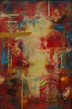 Encaustic...my favorite colors red and blue..beautiful.