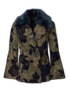 Banana Republic Womens Camo Bell Sleeve Peacoat With Removeable Faux Fur Collar