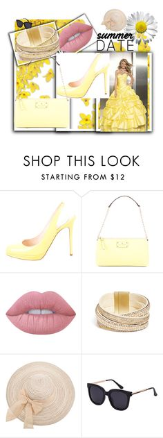 """""""Yellow"""" by soofficial87 ❤ liked on Polyvore featuring Christian Louboutin, Kate Spade, Lime Crime and GUESS"""