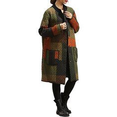 Vintage Women Color Block Printed Single Breasted Cotton Coat ($19) ❤ liked on Polyvore featuring outerwear, coats, cotton coat, long sleeve coat, print coat, vintage coat and colorblock coat