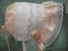 Heirloom Collection Peach Baby Bonnet - Heirloom Christening Gowns - Roses And Teacups