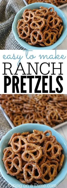 Easy snack idea Garlic ranch pretzels recipe Try this kid friendly seasoned pretzels recipe that the entire family will love We love this delicious ranch dressing pretze. Ranch Pretzels, Seasoned Pretzels, Spiced Pretzels, Seasoned Pretzel Recipe Ranch, Baked Pretzels, Coconut Dessert, Oreo Dessert, Quick Recipes, Cooking Recipes