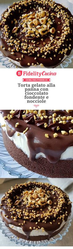 Torta gelato alla panna con cioccolato fondente e nocciole