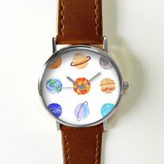 Planets Watch Solar System Watches for Men Women Leather Ladies Floral Tropical Jewelry Accessories Gifts Spring Fashion Personalized Unique