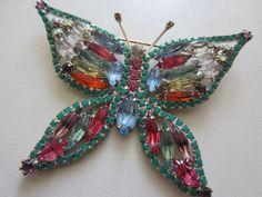 Vintage Costume Jewelry  -  Beautiful, Large KJL  Pastel Rhinestone Butterfly Brooch