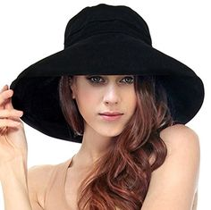 LRKC Women s Summer Cotton Bucket Beach Hat Foldable Sun Hat Wide-brim Hat 68df5f4b6e1f