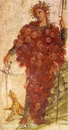*POMPEII, ITALY ~ Bacchus as a grape cluster from Pompeii, National Museum, Naples