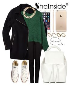 """""""Sheinside : Green knit sweater"""" by joujou-hajar ❤ liked on Polyvore featuring Converse, Wilfred Free, J Brand, Topshop, ASOS and Sheinside"""