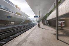 Visualizations by ZAN studio for an architectural competition designed by an architectural studio monom works. Visualizations of a railway station in Prague connecting the city and the airport. Train Station, Prague, Competition, Stairs, Studio, Architecture, City, Design, Home Decor