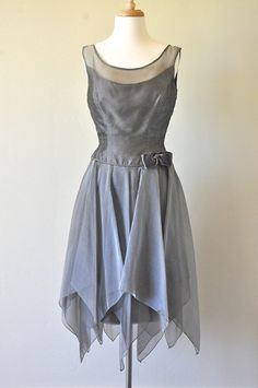 Vintage Green Grey Pixie Cocktail Dress by fablesandfinery on Etsy, $40.00