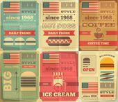 Coleção de cartazes de fast-food — Ilustração de Stock #47092381