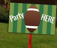Football Party's Here Lawn/ Yard Sign Football by JenuineCards