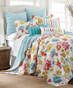 Look at this Turquoise Floral Quilt Set on #zulily today!