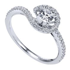 Beautiful and fun! Gabriel ER97718W44JJ 14 Karat Contemporary 'Free Form' Engagement Ring ~$1,640