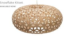 Designed by David Trubridge Dimensions: Medium: x Large: x Materials: Bamboo Made in New Zealand Snowflake has the same form as our Kina light but is made up from a snowflake shape, creating a repeating g Motif Hexagonal, Hexagon Pattern, Modern Lighting, Lighting Design, Lighting Ideas, Snowflake Shape, David, Light And Shadow, Pendant Lighting