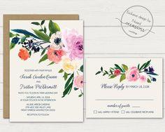 Floral Wedding Invitation Watercolor Wedding Invitation Suite Rustic Wedding Boho Wedding Invite Coral Pink DIY Digital Printable Template