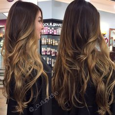 Hairpainting balayage long wavy hair