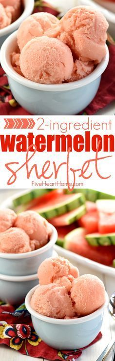 Watermelon Sherbet ~ a light, refreshing frozen treat that comes together with just fruit and yogurt, making it the perfect healthy snack or dessert all summer long! FiveHeartHome com is part of Healthy snacks - Low Carb Dessert, Oreo Dessert, Healthy Dessert Recipes, Healthy Sweets, Delicious Desserts, Yummy Food, Healthy Desserts With Fruit, Fruit Recipes, Diet Recipes
