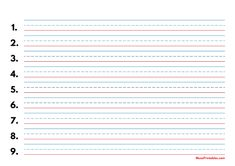 Printable Blue and Red Numbered Handwriting Paper (1/2-inch Landscape) for A4 Paper A4 Paper, Printable Paper, Handwriting, Free Printables, Templates, Landscape, Red, Blue, Pictures