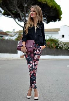 Office Style // Button-down shirt with black floral pants.