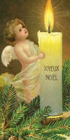 """Antique French """"Joyeux Noel"""" card with an angel and a very large candle."""