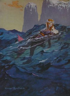 The MERMAID Saves THE PRINCE - Original Vintage Children's Print - The Sea - Harry Rountree 1915 - Nursery Tale -  Matted - Ready to Frame
