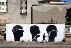 recent mural work by Pablo S. Herrero and David Delam done in Montevideo, Uruguay.