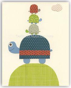 Baby boy room Nursery wall art print Baby Room Decor turtle baby owl ...4 turtles. $17.00, via Etsy.
