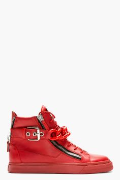 Must Have: Giuseppe Zanotti Red Chain Detail Hightop Sneakers