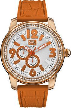 Marc Ecko Crystal The Miami Orange Rubber Strap Color Naranja, Unisex, Michael Kors Watch, All In One, Miami, Watches, Orange, Crystals, Purple