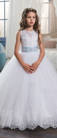 Kids wedding dresses with cap sleeves and beaded sash 2017 pentelei charming tulle satin jewel neckline ball gown flower girl dresses with lace appliques junglespirit Image collections