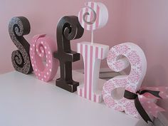 Modge Podge Name Letters. Wood pieces w scrapbook paper and modge podge Name Letters, Diy Letters, Letter A Crafts, Wood Letters, Cute Crafts, Diy And Crafts, Homemade Crafts, Mod Podge Crafts, Pintura Country