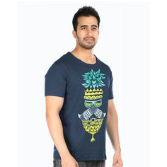 This navy blue T-shirt made completely in bio washed premium cotton is promising when talking about comfort. The Pattachitra art from Odisha, India is the inspiration behind the uber-chic hand painting on this T-shirt. The masculine face with a pineapple painted on the tee is definitely going to boost that big macho tough guy in you. So hit buy and amplify your oomph factor with this tee right now. #pattachitra #art #handpainted #tees #tshirts #cotton #authentic #summer #cool #stylish…