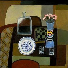 Nathalie Du Pasquier: Still life with my vase, 1995. Oil on canvas, 100 x 100 cm http://thisisexile.com/artists/nathalie-du-pasquier/