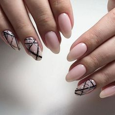Monochrome Geometric Nail Art. If you love the trendy nudes and the geometric nail art, then this monochrome geometric nail art is definitely made for you.