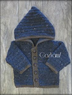 Baby Sweater with button front, blue and brown sweater, baby HOODIE, toddler SWEATER, sweater with Baby Blue Sweater, Toddler Sweater, Baby Girl Sweaters, Brown Sweater, Brown Trim, Blue Brown, Boys Hoodies, New Baby Gifts, Warm And Cozy