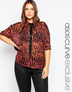 ASOS+CURVE+Skinny+Tie+Blouse+in+Animal+Print