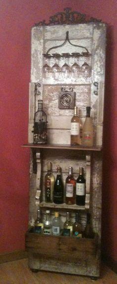 Mini bar using an old door!