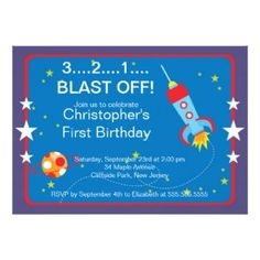 Outer Space Rocket Birthday Party Invitations #babyshowerideas4u #birthdayparty  #babyshowerdecorations  #bridalshower  #bridalshowerideas #babyshowergames #bridalshowergame  #bridalshowerfavors  #bridalshowercakes  #babyshowerfavors  #babyshowercakes