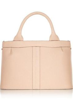 Blush textured-leather (Calf) Two top handles, detachable adjustable shoulder strap Slit pocket, gold stud at base Internal zipped pocket Fully lined in ivory leather Concealed snap fastening at covered top Monica Vinader Ring, Rossi Shoes, Jennifer Fisher, Summer Bags, Cosmetic Case, Paper Bags, Texture, Tote Bag, Wallet