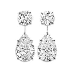 Estate Jewelry, White Diamonds, Diamond Drop Dangle Earrings at rauantiques.com