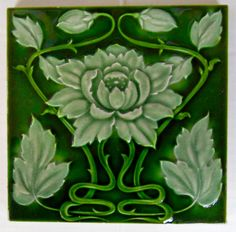 Top quality relief moulded Art Nouveau  design from Alfred Meakin, c1906 see tile reference 612 in the book Art Nouveau tiles with Style.