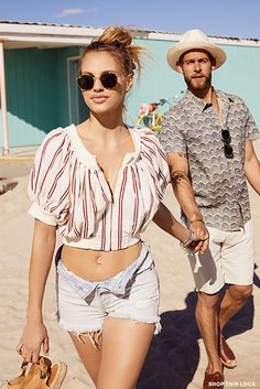 Ray-Ban Icons Round Sunglasses, Warm Friday Top, Levi's Wedgie Shorts and Soludos Bicolor Platform Sandals