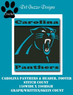 Carolina Panthers Blanket Crochet Graph graphghan pattern word chart by DelGuzzoDesignStudio on Etsy