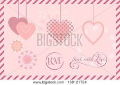 Wedding day or Happy Valentines Day lettering greeting card Vector hand drawn template. Romantic poster with pink hearts, festive background. Romance Love poster, banner, e-card, Sale flyer, Typography postcard envelope, Advertising, design, Calligraphy h