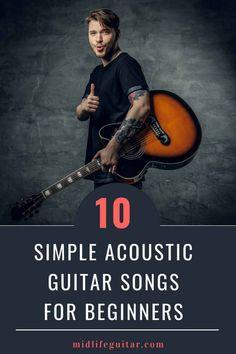 10 Simple Acoustic Guitar Songs For Beginners (Videos & TAB's) - Helen Music Theory Guitar, Easy Guitar Songs, Guitar Chords For Songs, Music Guitar, Playing Guitar, Learning Guitar, Ukulele, Guitar Notes, Banjo