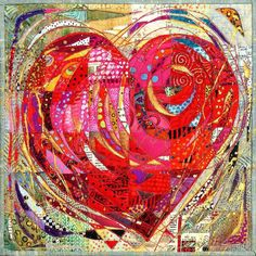This is a quilt! With Open Heart Mini art quilt by Nancy Messier Small Quilts, Mini Quilts, Quilting Designs, Quilting Projects, Motif Paisley, Quilt Inspiration, Quilt Modernen, String Quilts, Landscape Quilts